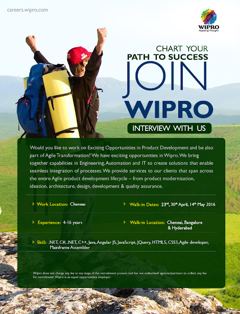 Wipro Walkin : Multiple Skills : Multiple Locations : On 30th Apr & 14th May 2016