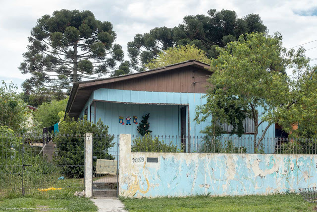 Casa de madeira na Rua Ary Barroso com pinheiros ao fundo
