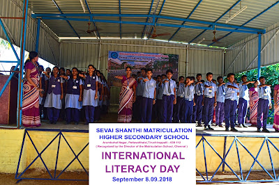 International Literacy Day 2018 celebrated in SEVAI Shanthi Matriculation Higher Secondary School Trichy.
