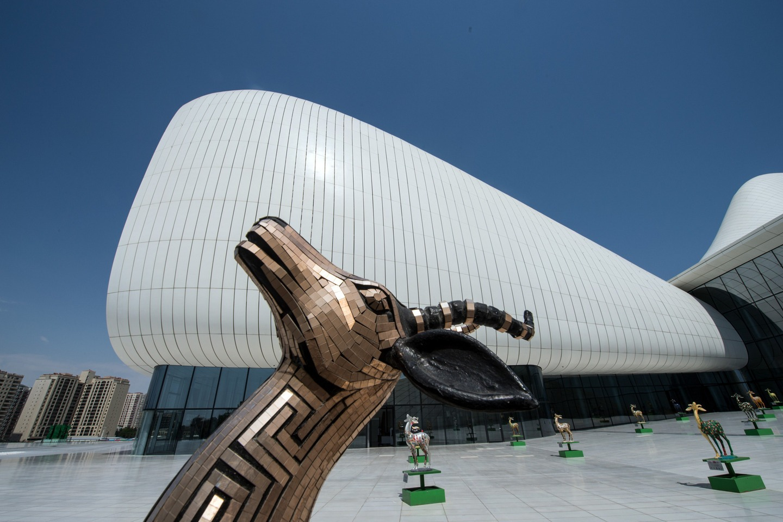 The Heydar Aliyev Cultural Center in Baku , Azerbaijan.
