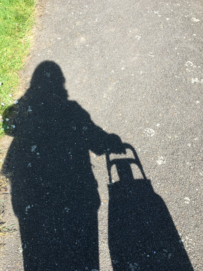 My-shopping-trip-to-Lidl-shadow-of-me-and-my-shopping-trolley