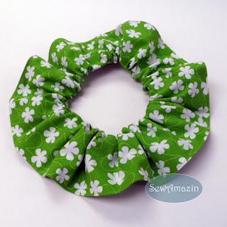 Lime Green Surf Flowers Dog Scrunchie Ruffle