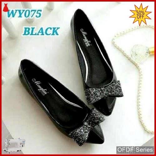 OFDF164 Sepatu Flat Cantik Glitter Flatshoes hitam BMGShop