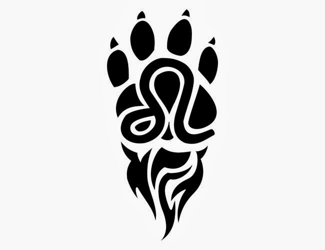 Tiger paw tattoo stencil