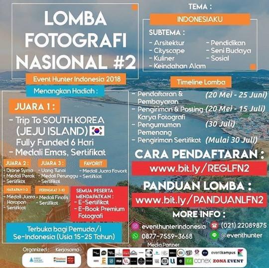 Lomba Fotografi Nasional #2 Event Hunter Indonesia Pelajar, Mahasiswa & Umum 2018