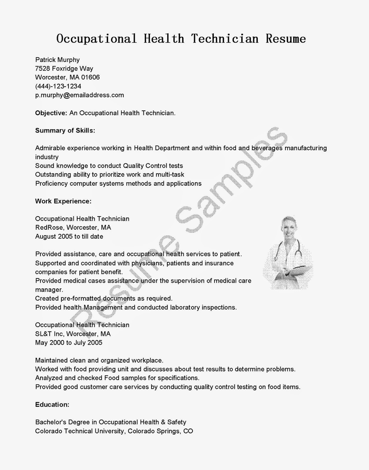 Resume Samples Occupational Health Technician Resume Sample