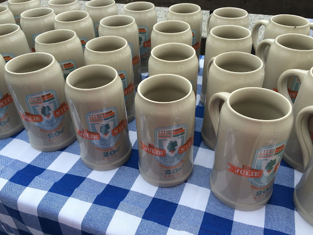 Beer mugs with family crest, Texas wedding in Germany, Bavaria, Garmisch-Partenkirchen, Riessersee Hotel, wedding destination location, wedding planner Uschi Glas, alps and lake-side wedding