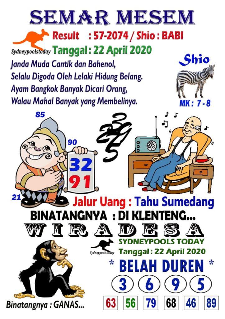 Syair kampleng sydney 22 april 2021