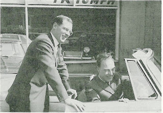 Mr. Leonard Butters shows Geoff Boycott the controls of a Herald