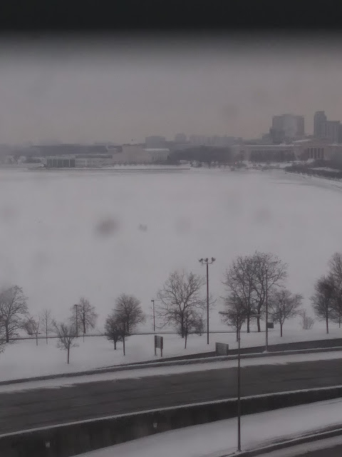 View of Lake Michigan in the snow