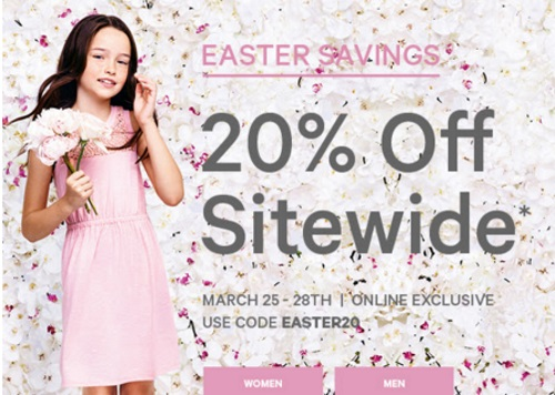 Joe Fresh Easter Savings 20% Off Sitewide Promo Code