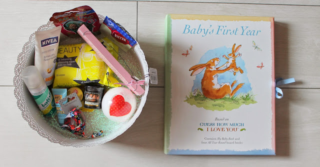 baby shower gift ideas - hamper for mum to be and books for baby