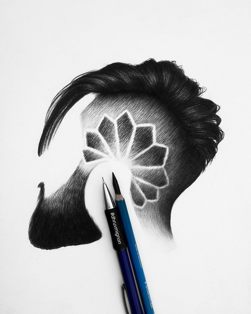 11-dhruvmignon-Minimalist-Realistic-Hair-Study-Drawings-www-designstack-co
