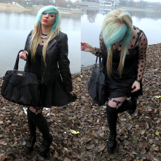 nu goth, emo girl, blue hair, wedge creepers, heart garter