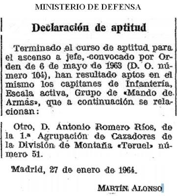 Ascenso a comandante de Antonio Romero Ríos en 1964