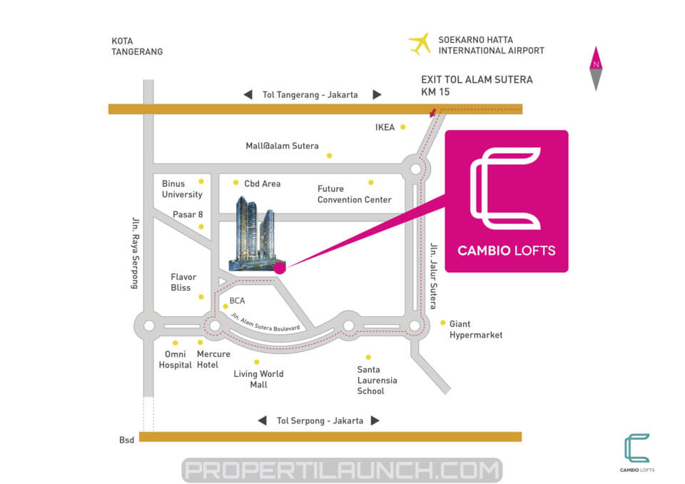 Peta Lokasi Apartemen Cambio Lofts