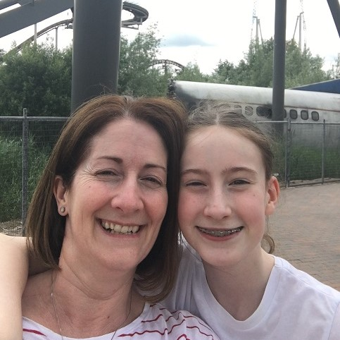 Steph and Tamsin at Thorpe Park