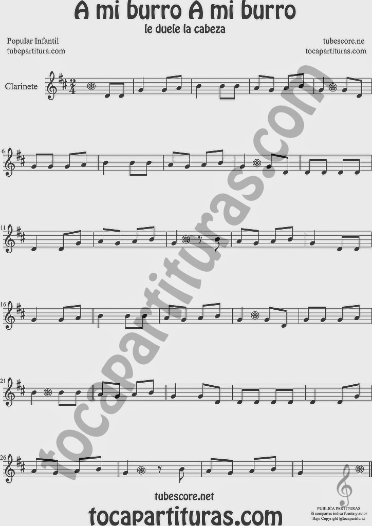 A mi Burro A mi Burro Partitura de Clarinete Sheet Music for Clarinet Music Score