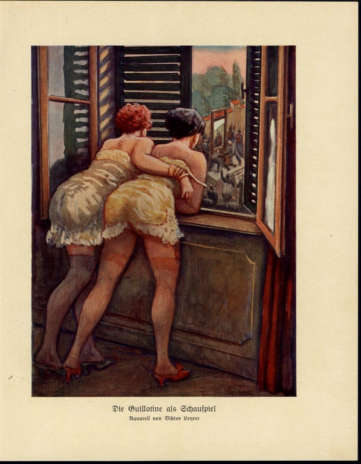 Two Women Watching Guillotine Execution from Window - 1931 Art Deco Print