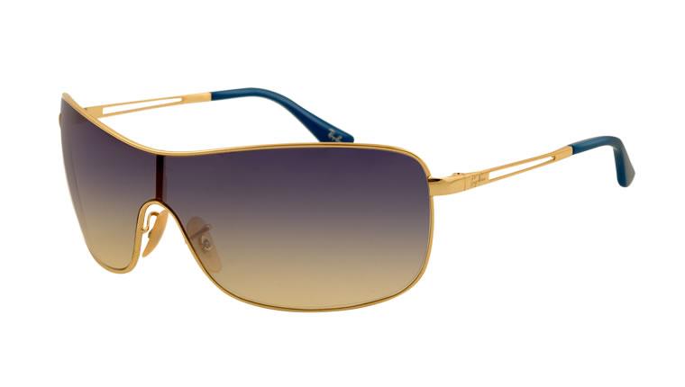 lunette de soleil Ray-Ban RB3466-001-13  lunette de soleil masque avec des  branches arista et des verres de couleur marrons. 7a6f0bc557da