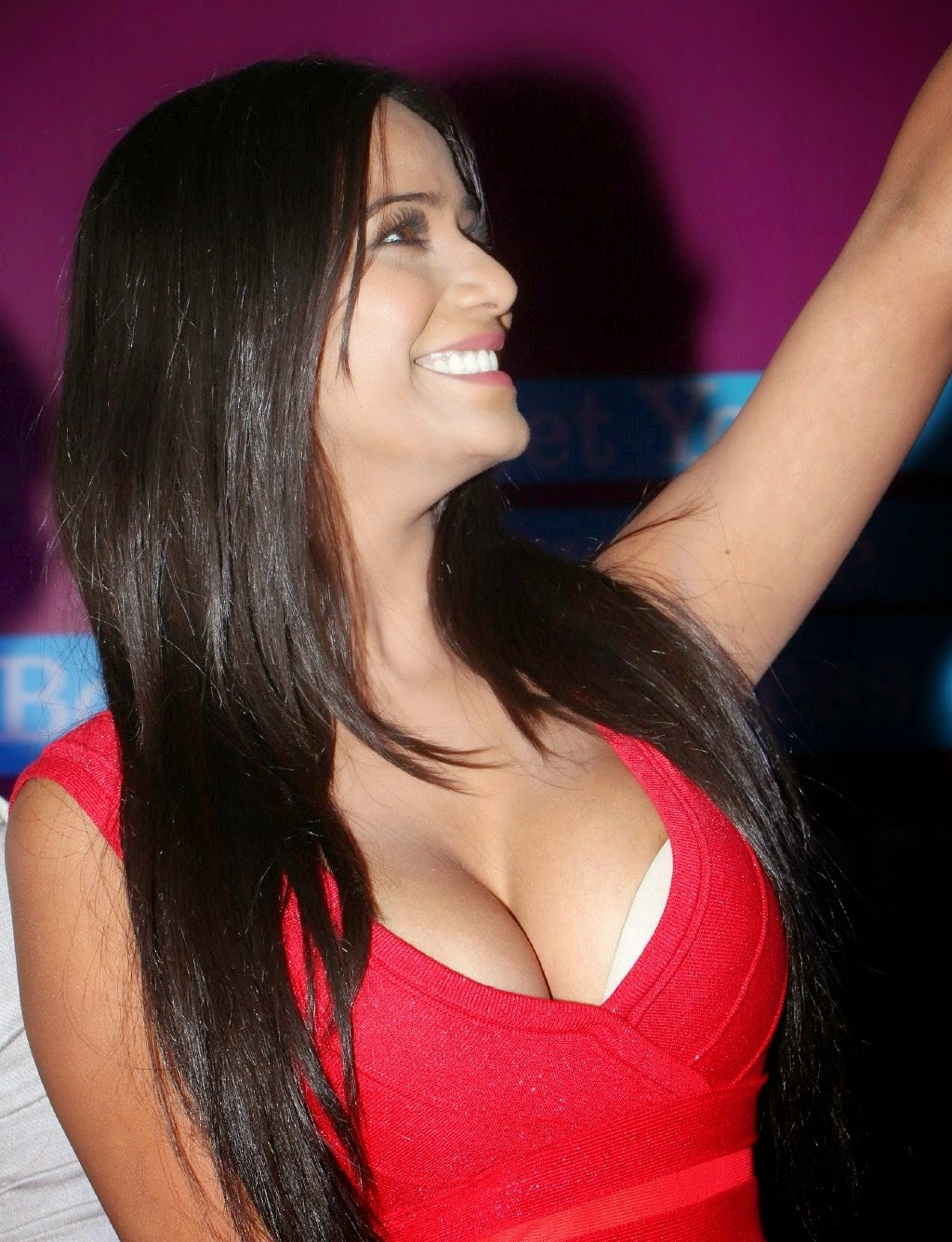 Poonam Pandey Sexy In a Low-neck Red Dress At Telugu Film  Malini   Co   Promotions  2a9f78995