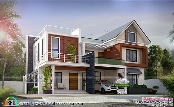 2848 square feet 4 BHK mixed roof beautiful house plan