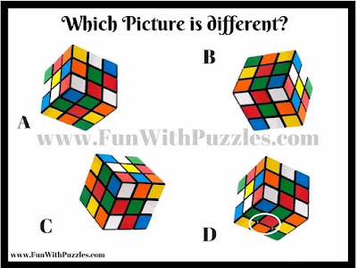 Odd One Out Picture Puzzle of Rubik Cubes Answer