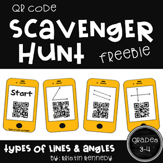 FREE Types of Lines and Angles QR Code Scavenger Hunt. Students have so much fun moving around the classroom during math to solve the geometry problems with the iPads. Find this and tons of other free ideas and activities for using QR codes in the elementary classroom.