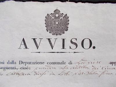 Antico avviso d'asta - documento ottocentesco - Regno Lombardo Veneto - annunci