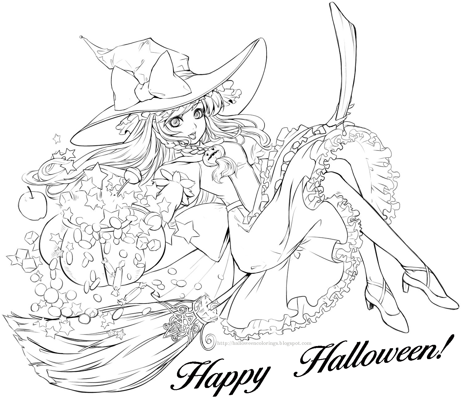free printable coloring halloween pages | HALLOWEEN COLORINGS