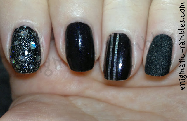 W7-Black-Kleancolor-blackout-a-england-Orphelia-ascalon-striping-tape-flocking-powder-black-fur-Skittle