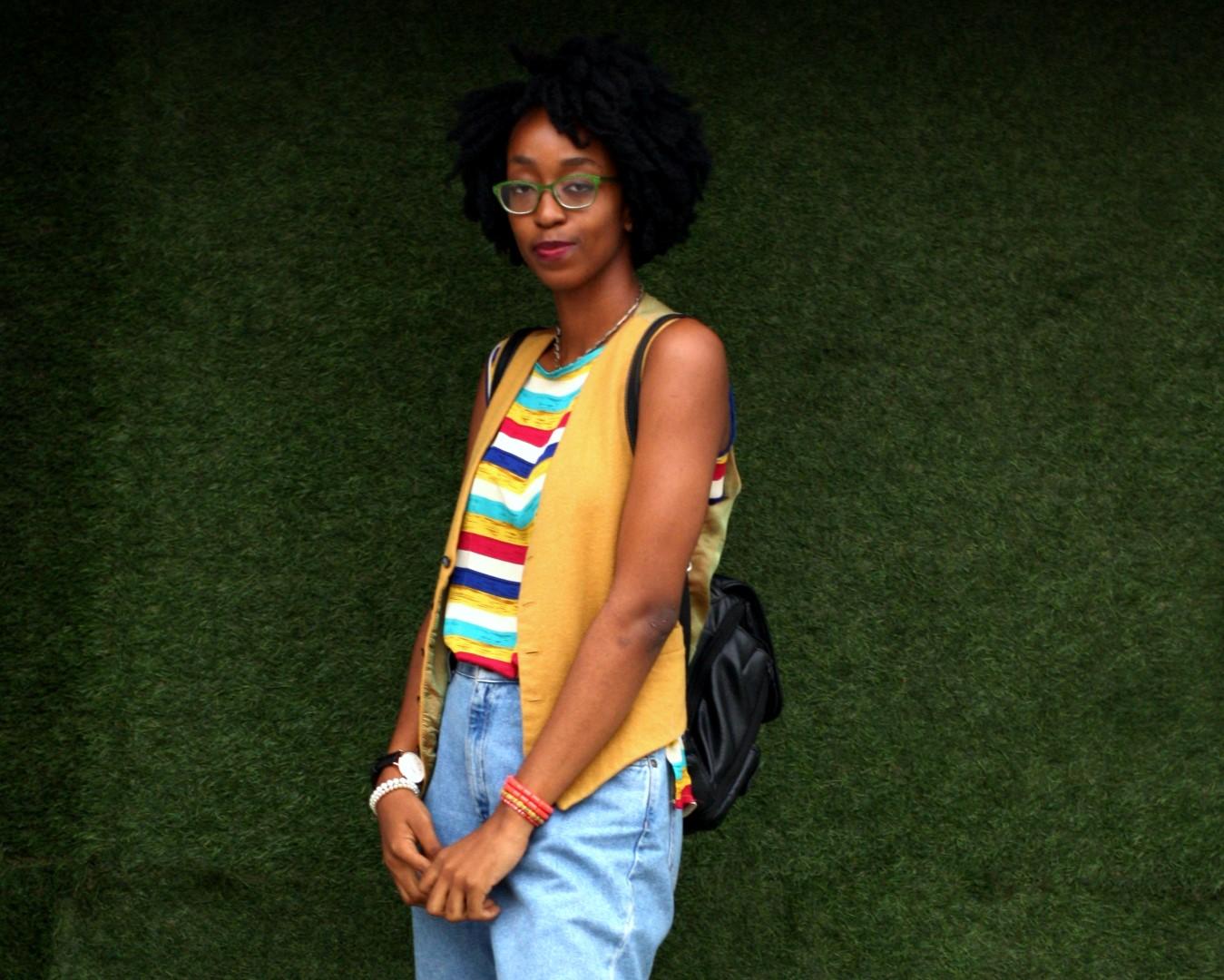 mustard velvet waist coat and crochet fro