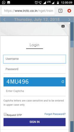 Picture of IRCTC login on mobile website