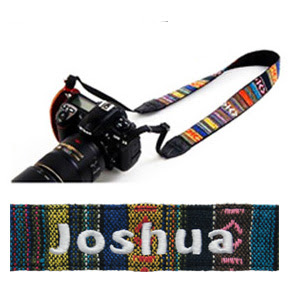 Tribal color camera strap with customized name