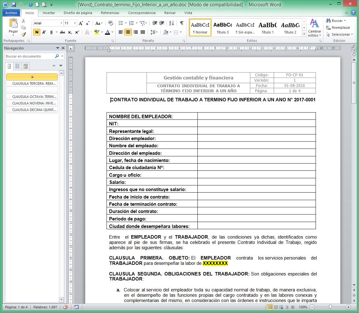 Accex word modelo contrato individual de trabajo a for Modelo contrato indefinido