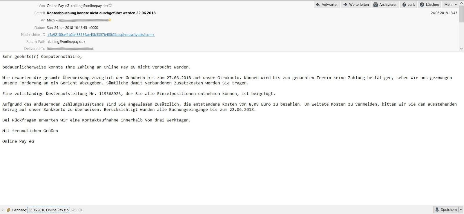 Malware Und Ich Mahnung Von Online Pay Eg