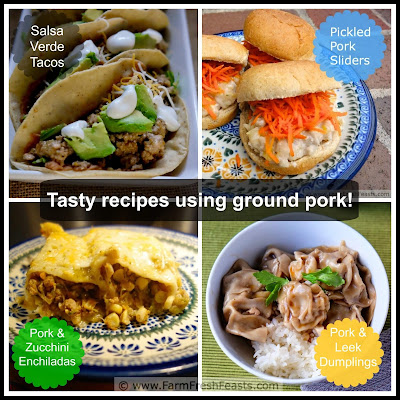 collage of recipes using ground pork seen on Farm Fresh Feasts