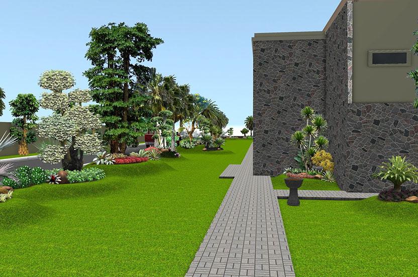 Taman Tropis Depan Rumah Jasa Tukang Taman Surabaya