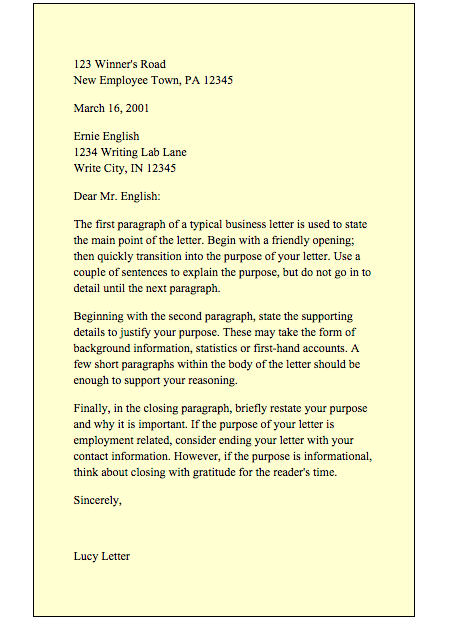 example of simple business letter