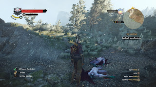 Geralt from Witcher 3 in front of 2 defeated enemies.