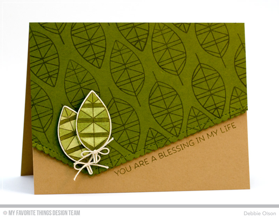 Handmade card from Debbie Olson featuring Lisa Johnson Designs Geometric Greenery stamp set and Die-namics and Stitched Scallop Basic Edges Die-namics #mftstamps