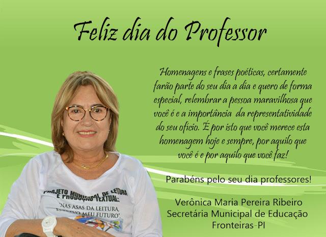 SECRETÁRIA DE EDUCAÇÃO PARABENIZA OS PROFESSORES DA REDE MUNICIPAL  DE ENSINO