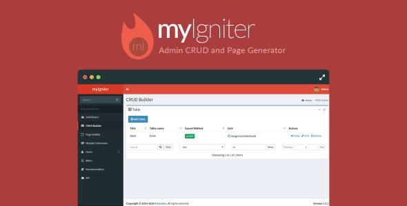 myIgniter v4 0 2 - Admin CRUD and Page Generator