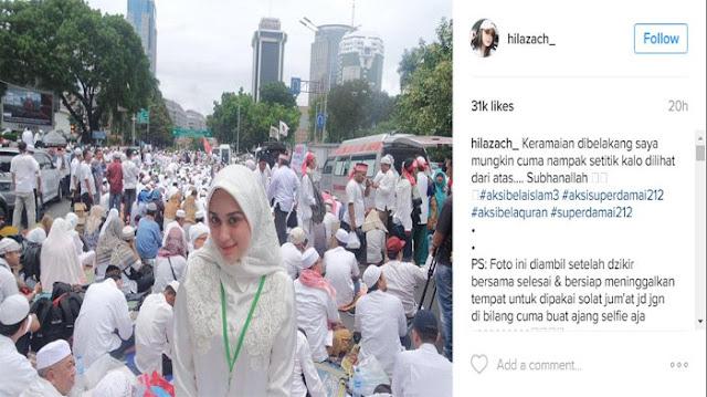 Wanita Cantik di Aksi 212 Ini Bikin Kagum Netizen