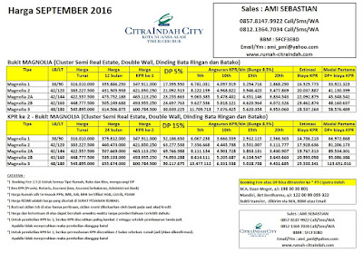 harga-cluster-magnolia-citra-indah-city-september-2106