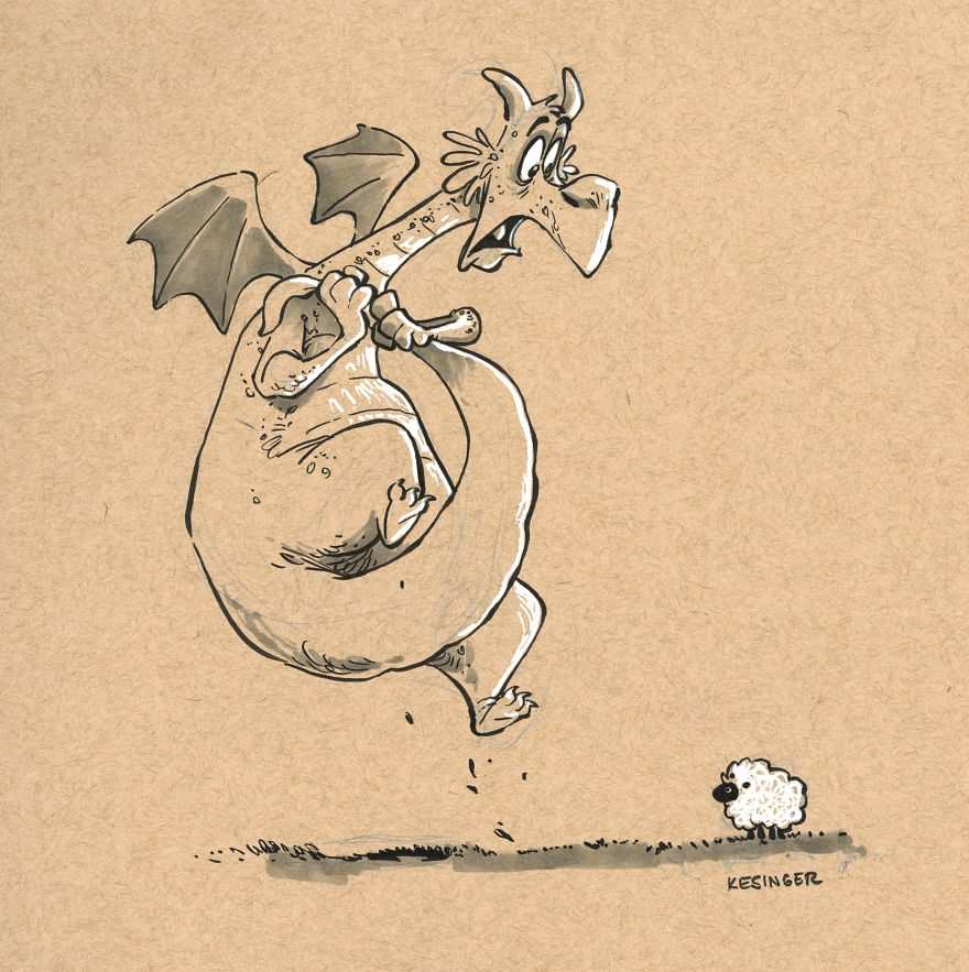 01-Gorüng-the-Skittish-Ovinaphobia-Brian-Kesinger-Drawings-that-Show-the-Kinder-Side-of-Dragons-www-designstack-co