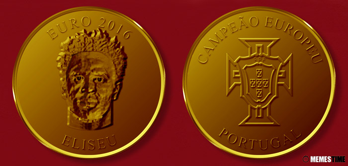 Meme com Medalha Comemorativa da Conquista do Euro 2016 pela Seleção Nacional de Portugal – Eliseu