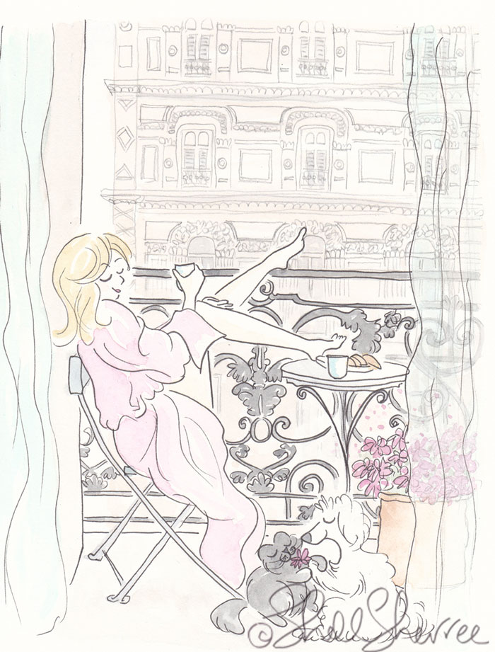 Paris Pink Robe Balcony Lounging dog, cat, fashion illustration © Shell Sherree all rights reserved