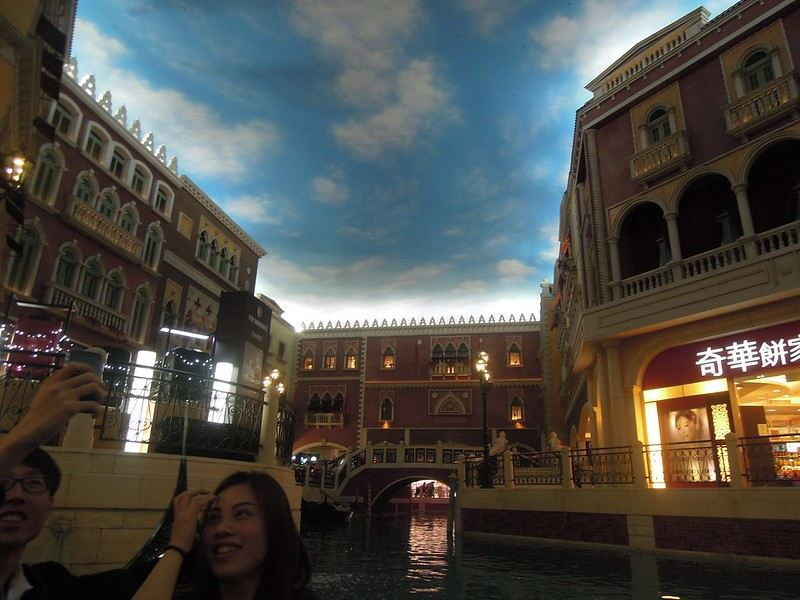 A view of the canal from a gondola at The Venetian Macao Resort Hotel