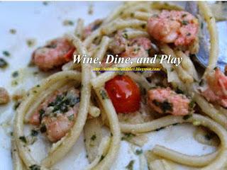 The Gulf shrimp bucatini pasta dish at the Harvest Moon restaurant in Sonoma, California